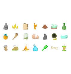 garbage icon set cartoon style vector image