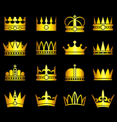 Gold crown aristocracy symbols set vector