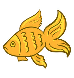 gold fish on white background vector image