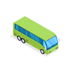 green bus isolated isometric 3d icon vector image