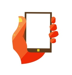 Hand Holding Touchscreen Mobile Phone vector image