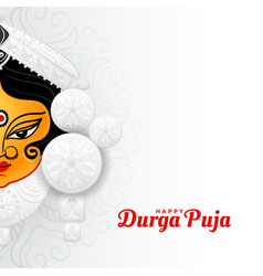 Happy durga pooja hindu festival greeting design vector