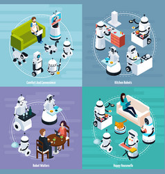 home robots 2x2 isometric design concept vector image