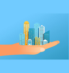 human hand holding modern city vector image