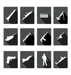 Icons set black and white silhouettes armed vector
