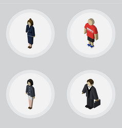 isometric human set of guy businesswoman girl vector image