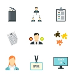 Job search icons set flat style vector