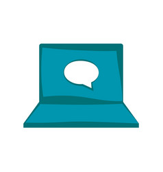 laptop with chat bubble inside vector image