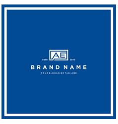 Letter ae rectangle logo design vector