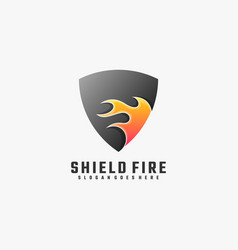logo shield fire gradient colorful style vector image