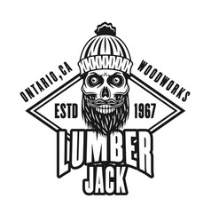 Lumberman bearded skull and rombus emblem vector