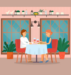 Man and woman couple eating food in cafeteria vector