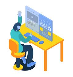 Man working on desktop computer icon isometric vector