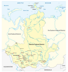 map russian siberian federal district vector image