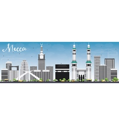 Mecca Skyline with Landmarks and Blue Sky vector