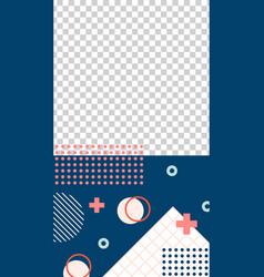 memphis style story template geometric minimalism vector image