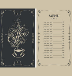 menu for cafe with price list and coffee cup vector image