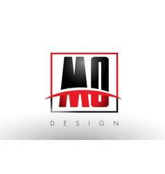 mo m o logo letters with red and black colors and vector image