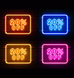 Neon 20 off text banner color set night sign vector