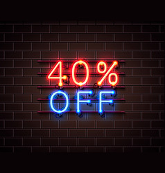 neon 40 off text banner night sign vector image