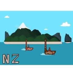 New Zealand landscape postcard vector image