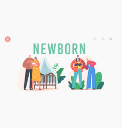 newborn landing page template young family vector image