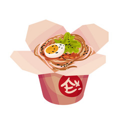 Noodles with boiled egg on a vector