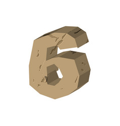Number 6 stone rock font six stones alphabet vector