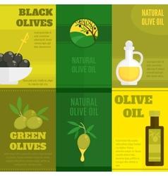 Olives mini poster set vector image