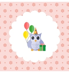 Owl in a cap with balloons and a gift vector