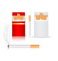 pack cigarettes white and red paper packs vector image