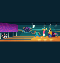 people playing bowling in club throwing balls vector image