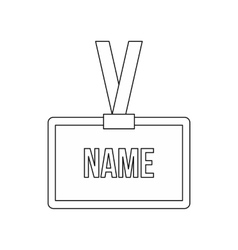 Plastic Name badge with neck strap icon vector image