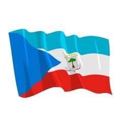 Political waving flag of equatorial guinea vector