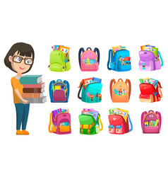 pupil with literature and backpack school vector image
