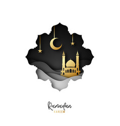 Ramadan kareem festive greeting card paper cut vector