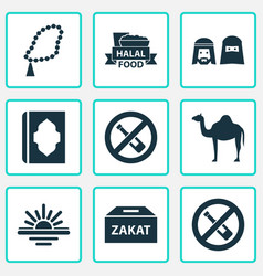 Religion icons set with people maghrib zakat vector