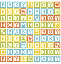 Seamless pattern with blocks baby boy vector