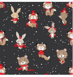 seamless pattern with cute bunny foxes and bear vector image