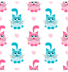 seamless pattern with pink and blue cats vector image