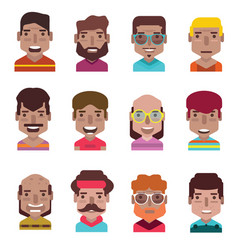 set 12 avatar icons 01 vector image