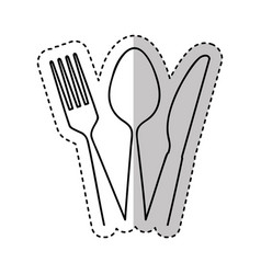 set kitchen cutlery isolated icon vector image
