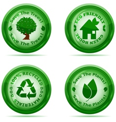 set of green environmental icons vector image