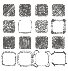 Set of hand drawn scribble shapes design elements vector image
