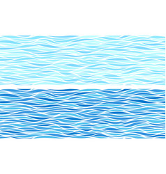 set of two seamless patterns with blue waves vector image
