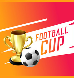 soccer football winning trophy cup background vector image