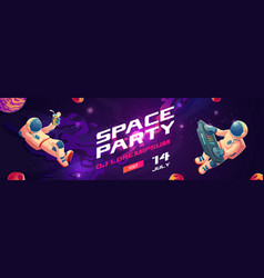 Space party cartoon flyers invite to music show vector