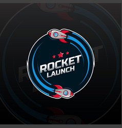 Space rocket ship logo vector