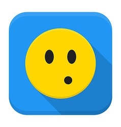 Surprised yellow smile app icon with long shadow vector image