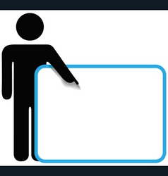 Symbol person stick figure points finger sign copy vector